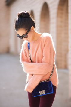 Peach Sweater with maroon Jeans