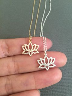 Dainty Gold Lotus Necklace, Lotus petal charm, Birthstone necklace, buddhist jewelry , Meditation, Yoga Necklace
