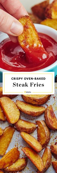 How To Make Oven Baked Steak Fries Ovens are all you need Well tell you the perfect seasoning and technique for one of the best EASY dinner side dishes around Kids LOVE s. How To Make Steak, Food To Make, Oven Baked Steak, Oven Steak Fries Recipe, Steak Bake, Oven Baked Fries, Homemade Potato Wedges, Homemade Fries, Potato Wedges Baked