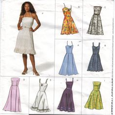 Womens Summer Sundress with Strapless, Halter and Strap Variations A Line or Flared Skirt OOP Vogue Sewing Pattern 2419 Size 8 10 12 FF Strapless Tops, Strapless Dress, Spaghetti Strap Top, Vogue Sewing Patterns, Miss Dress, Couture, Flare Skirt, Pleated Skirt, Lace