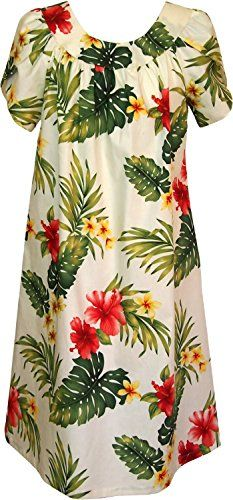 Robert J. Clancey Women's Summer Hibiscus Petal Sleeve Muumuu House Dress