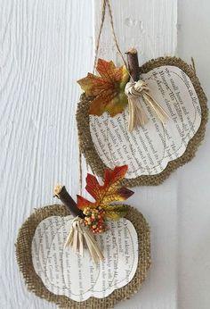 burlap book page pumpkins, crafts, repurposing upcycling, seasonal holiday decor