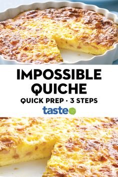 Impossible quiche A beautiful golden brown ham and cheese quiche that will delight the whole family. The post Impossible quiche appeared first on Welcome! Quiche Recipes, Egg Recipes, Brunch Recipes, Baking Recipes, Great Recipes, Breakfast Recipes, Favorite Recipes, Dinner Recipes, Quiche Impossible