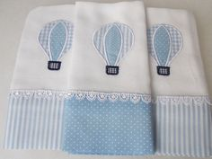 Kit Fralda de Boca Azul claro Balão | Brataro Baby Design | Elo7