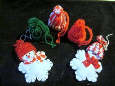 Christmas Snowman and Hat Ornaments  Red by JewelsOfHighElegance, $7.75