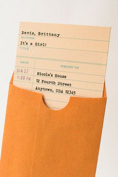 Library Check-Out Card Baby Shower Invitation