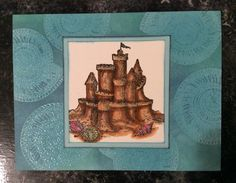 Entered in simonsaysstampblog.com Monday Try to Resist Challenge. Used embossing ink to stamp shell on card, added clear embossing powder to make background. Used Distress Ink and sponge to add color and highlight shells. Stamped sandcastle on white, colored with markers, matted on paper same color as card originally (light blue).  Inked edges of castle piece and mat piece. Added Wink of Stella glitter to sandcastle.