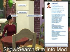 Show/Search Sim Info Mod by itasan2 at Mod The Sims via Sims 4 Updates  Check more at http://sims4updates.net/mods/showsearch-sim-info-mod-by-itasan2-at-mod-the-sims/