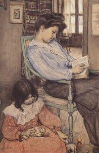Une heure de loisir, 1904 by Elizabeth Nourse, pencil and watercolour and gouache