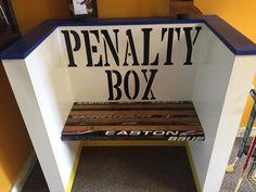 Penalty Box Bench - Little Champ Frames Boys Hockey Bedroom, Hockey Nursery, Hockey Room, Boys Bedroom Paint, Hockey Baby, Boys Bedroom Decor, Backyard Ice Rink, Time Out Chair, Hockey Decor