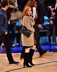 Jessica Chastain attends the Atlanta Hawks vs New York Knicks game at Madison Square Garden on January 3, 2016 in New York City.