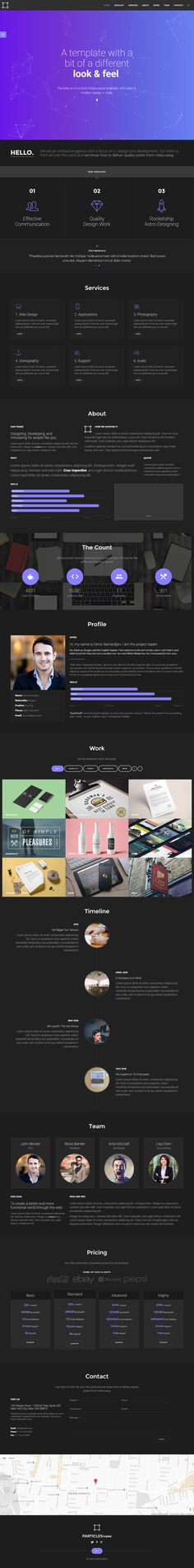 """'Particles' is a One Page HTML template suited for a personal or digital agency portfolio. The template comes in a dark and light color scheme as well 8 link color options. Other features include their branded """"particle"""" background effect, portfolio with category filter and pop-up image gallery, parallax scrolling backgrounds, history timeline, pricing table and contact form."""