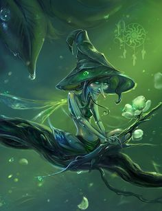Set of creative fantasy illustrations by Liza Gokoeva, an artist from Ukraine. Forest Creatures, Magical Creatures, Fantasy Creatures, Yuumei Art, Arte Elemental, Kobold, My Fantasy World, Elves And Fairies, Nature Spirits