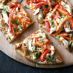 Thai Chicken Naan Pizza Recipe with Peanut Sauce, Red Pepper & Carrots | Cookin Canuck