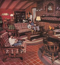1977 SEARS Open Hearth Family Room Furniture Magazine Ad - I believe that is the very set we had in the basement. 1970s Decor, Retro Home Decor, Home Decor Styles, Vintage Decor, Vintage Furniture, Country Furniture, 1970s Furniture, Furniture Dolly, Vintage Diy