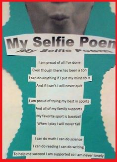 Selfie poem - take a selfie and the poem is about what they are proud of