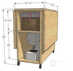 uma mesa para costurar onde vc guarda a máquina e seus apetrechos de costura !