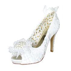 Women's Satin Stiletto Heel Peep Toe Platform Pumps With Imitation Pearl Rhinestone Flower
