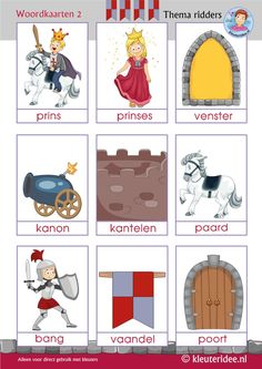 Woordkaarten 2 thema ridders voor kleuters, kleuteridee, Preschool knights theme, free printable. Kindergarten Activities, Preschool, Castles Topic, Castle Crafts, Castle Project, Learn Dutch, A Knight's Tale, Dutch Language, Dragons