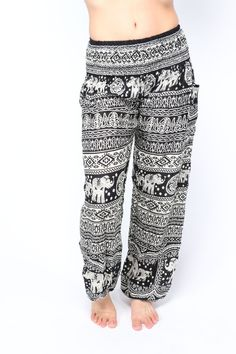Description You'll fall in love with these enchanting elephant harem pants before you can pull them all the way up. While wearing these lightweight yoga pants, the strength and patience of gentle gian