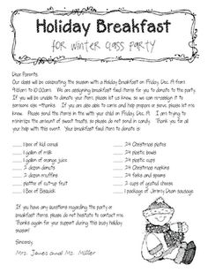 65 best parent letters images on pinterest preschool activities holiday breakfast parent letter spiritdancerdesigns Image collections