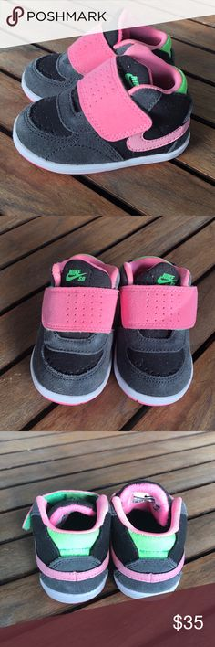 Girls Nike 3c high top shoes NWOT Girls Nike 3c high top shoes. New without box. Very cute little girl shoes pink, dark gray/black and green. Nike Shoes Sneakers