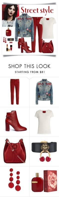 """Gucci Embroidered Denim Jacket Look"" by romaboots-1 ❤ liked on Polyvore featuring Étoile Isabel Marant, Gucci, Mercedes Castillo, Rockins, Valentino, Kenneth Jay Lane, AMOUAGE and Tom Ford"
