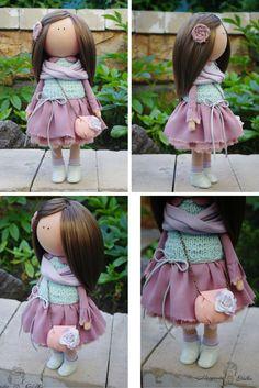 Soft doll handmade lilac Decor doll Girl by AnnKirillartPlace