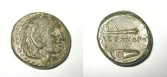 Greek kingdom of Macedon, Alexander the Great, 336-323 BC, Bronze Half Unit of 18 mm  OBVERSE: Head of Alexander facing right, wearing lion skin knotted at base of the neck  REVERSE: ALEXANDROY in Greek, with Perseus club above and bow case below