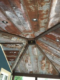 Rustic tin ceiling Hip cathedral with old barn tin Rustic Tin Ceilings, Roof Ceiling, Tin House, Barn Renovation, Tin Walls, Barn Wood, Barn Tin Wall, Corrugated Metal, Metal Homes