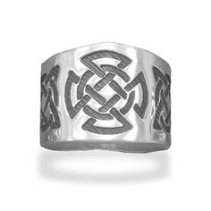 Celtic Design Sterling Silver Cigar Band Ring