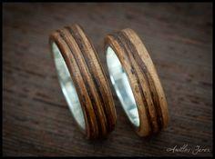 nº179 Alianzas de madera doblada de cebrano con interior de plata.