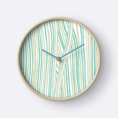 """Funky stripes, white and green"" Clocks by ptitsa-tsatsa 