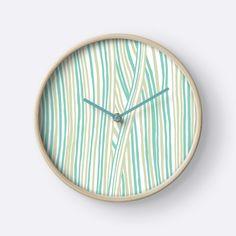 """Funky stripes, white and green"" Clocks by ptitsa-tsatsa | Redbubble"