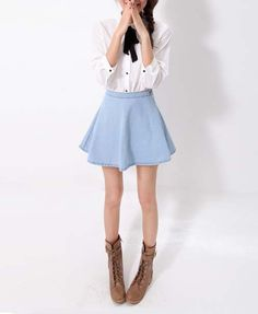 Denim Mini Skater Skirt in Light Blue