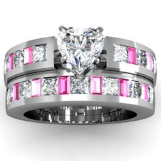would like it better with a princess cut diamond not a heart. Pink Sapphire and Diamond Engagement Ring! Engagement Wedding Ring Sets, Wedding Sets, Vintage Engagement Rings, Diamond Engagement Rings, Ruby Wedding, Gold Wedding, Diamond Rings, Bridal Rings, Wedding Rings