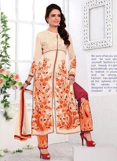 Adorning Resham Work Cream Georgette Salwar Suit