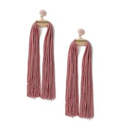 DESIGN Statement Double Tassel Earrings - Pink Asos iaPdFDVwL