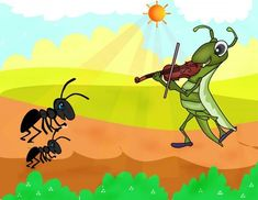 The ant and the grasshopper Popular Short Stories, Moral Stories For Kids, Short Stories For Kids, Lion And The Mouse, Owl Theme Classroom, Shady Tree, Dog Activities, Child Love, Bedtime Stories