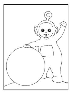Teletubbies Po And Large Ball coloring picture for kids