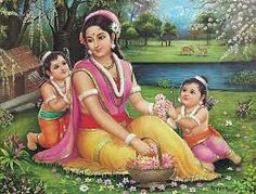 RAMAYANA CHARACTERS - SITA AND HER SONS LAVA AND KUSHA (RAMA'S SON).