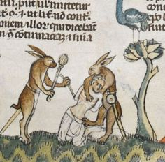Rabbits killing men in The Smithfield Decretals, c. 1300 - Bizarre and vulgar illustrations from illuminated medieval manuscripts