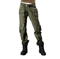 Unikey Womens Outdoor Loose Zip Fly with Button Mid Rise Casual Cargo Pants ** Want additional info? Click on the image.