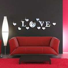 LOVE Decal Acrylic Mirror Effect Wall Sticker Home Decoration Wall Clock with Movement Living Room Decor Tools Silver Wall Stickers Love, Wall Clock Sticker, Mirror Wall Stickers, Vinyl Wall Art, 3d Wall, Wall Clocks, Sticker Shop, Acrylic Mirror, 3d Mirror