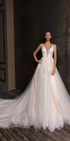 V neck tulle skirt a line wedding dress : Crystal Design wedding gown #weddinggown #weddingdress #bridalgown