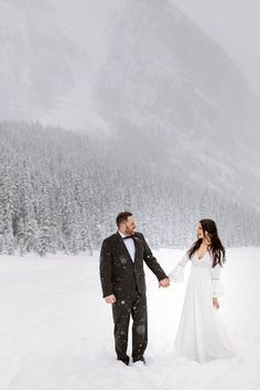 Boho Lake Louise winter elopement in the forest. Bride with ethereal boho style for a snowy winter wedding in the Rocky Mountains. Boho Bride, Boho Wedding, Wedding Dress, Lake Louise Winter, Outdoor Winter Wedding, Chateau Lake Louise, Local Photographers, Winter Wedding Inspiration, Canadian Rockies