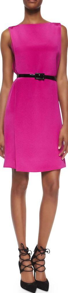 Ralph Lauren Black Label Self-Belt Cape-Back Silk Dress