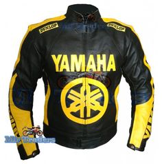 Yamaha 46 Black Yellow Wheel Scooter Leather jacket Men
