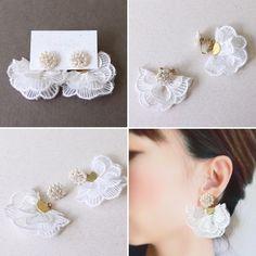 Diy Lace Earrings, Fabric Earrings, Fabric Jewelry, Earrings Handmade, Diy Jewelry Rings, Jewelry Design Earrings, Bridal Jewelry, Beaded Jewelry, Jewellery