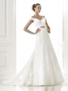 A-Line Deep V-Neck Chapel Train Lace Wedding Dress Cheap
